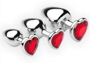 3-delige buttplug setmet rode hartvormige siersteentjes
