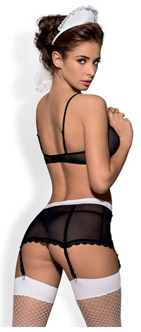 Sexy Kamermeisje Kostuum met jarretelgordel